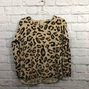 H&M crew neck leopard print sweater with zipper